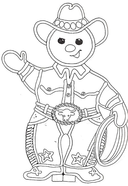 Cowboy Gingerbread Coloring Page