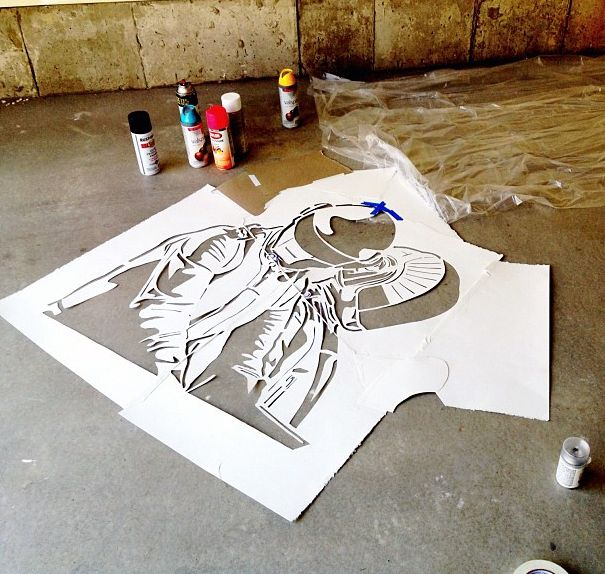 Daft punk stencil watercolor paper 140 weight my work for Daft punk mural
