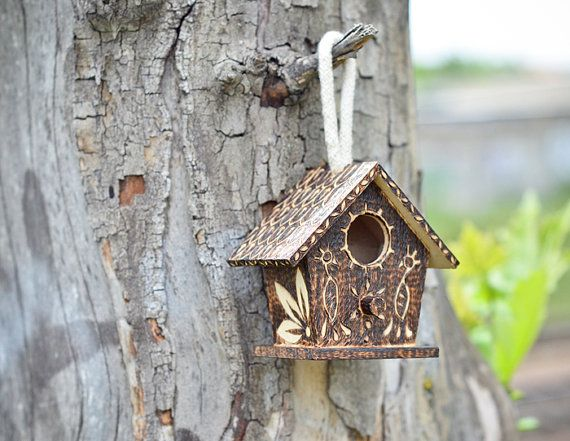 Brown Miniature Bird House Indoor Gardening Decoration