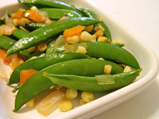 Snap Pea Saute:  A delicious side dish in an indulgent day