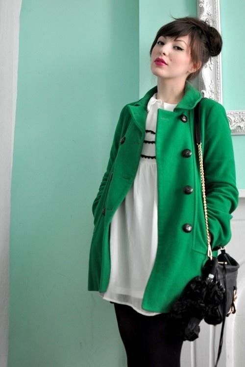 Kelly green winter coat