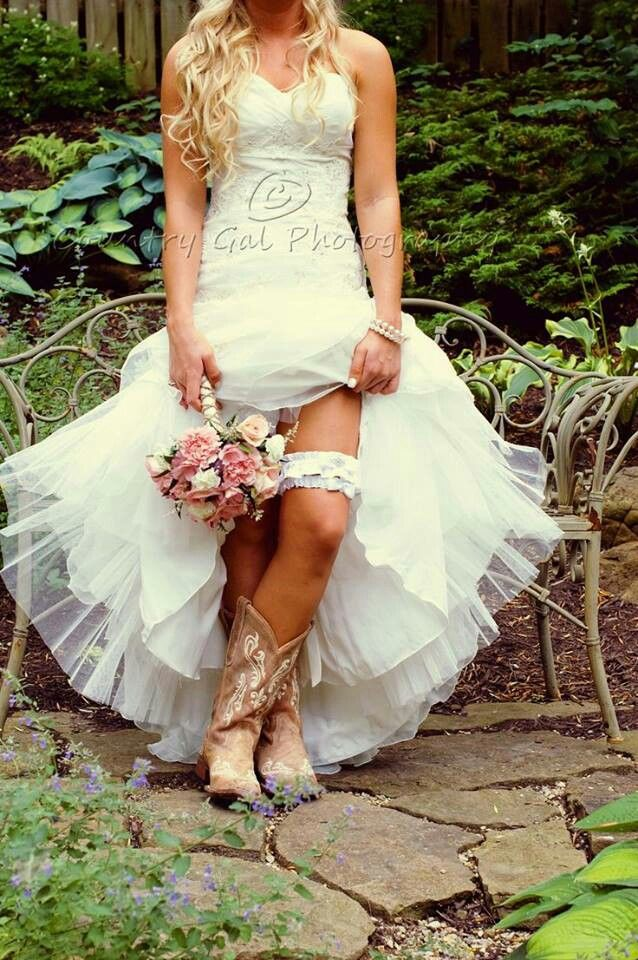 Wedding dress and cowgirl boots here comes the bride for Wedding dress cowgirl boots
