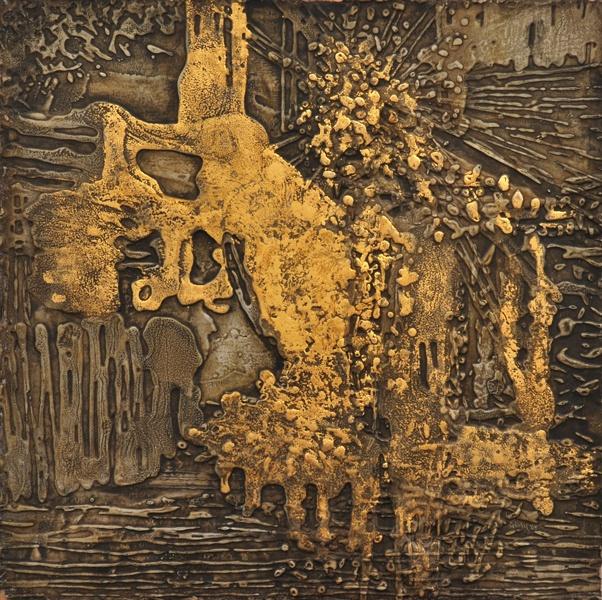 � JOSEPH STANISLAUS OSTOJA-KOTKOWSKI (1922-1994) Gold Form 1963 mixed media on board signed, titled and dated verso 47 x 47.5cm, Leonard Joel Auctions, Calender, Australian Auctioneers
