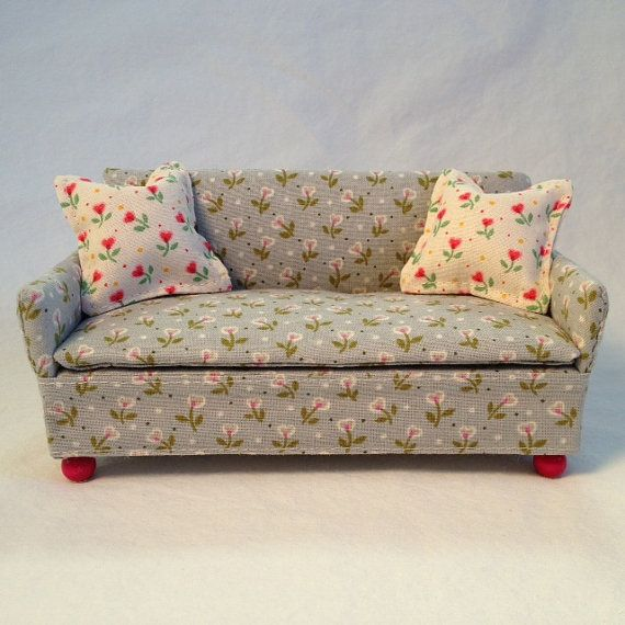 1 12 Scale Miniature Dollhouse Sofa In Floral Light Blue