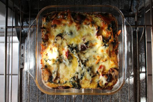 Quinoa Strata with Roasted Mushrooms, Swiss Chard and Aged Cheddar ...