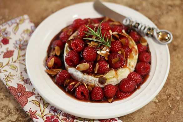 Warm Honeyed Brie with Raspberries and Almonds   Recipe