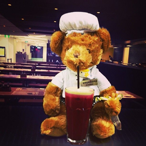 Dougal drinking beetroot apple mint and ginger juice @Ann Wagner # ...