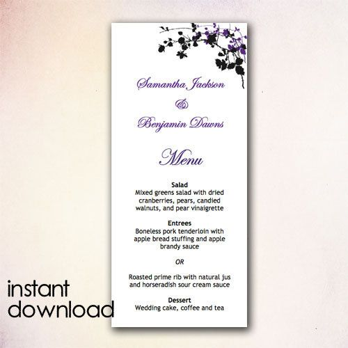 wedding menu templates microsoft word
