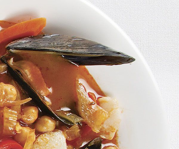 Halibut and Mussel Stew with Fennel, Peppers, and Saffron | Recipe