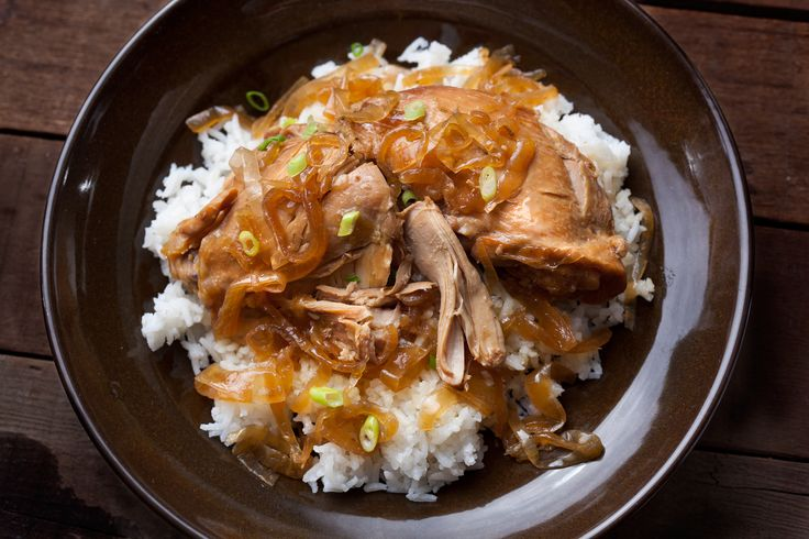 ... adobo) layers chicken thighs with onions, soy sauce, and vinegar and