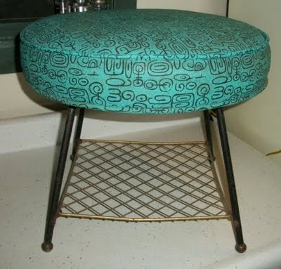 Cool turquoise, patterned stool!