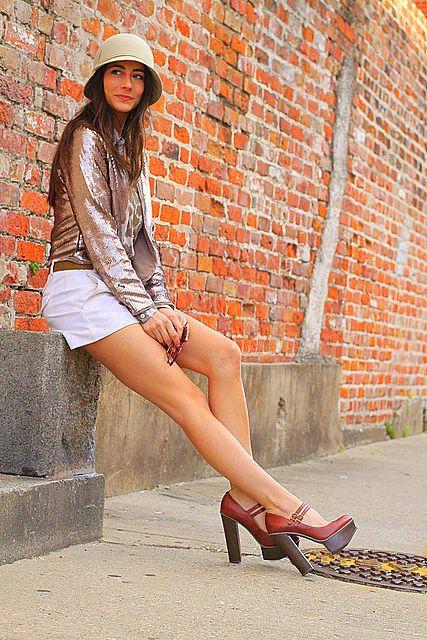 sequin jacket + platform shoes.