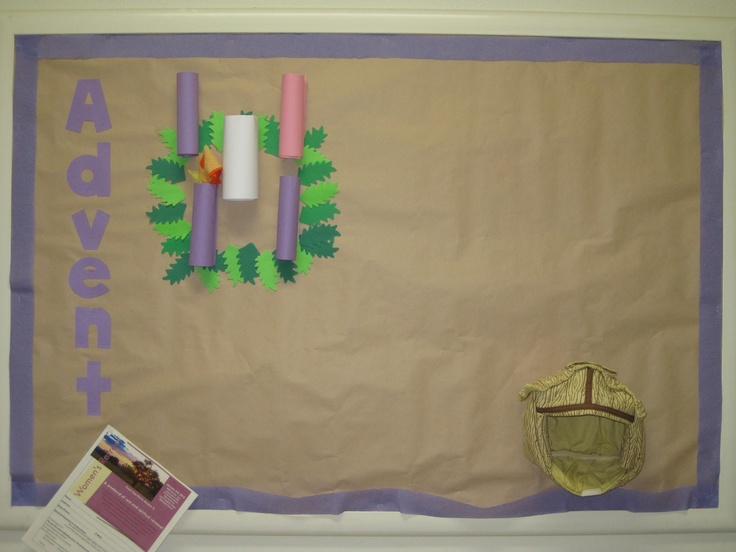 Advent (1st week) Bulletin Board -- soft fabric creche pinned to board ...