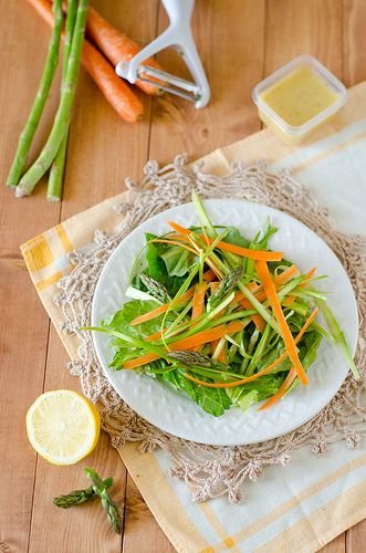 Shaved Asparagus and Carrot Salad with a Creamy Citrus Dressing | Rec ...