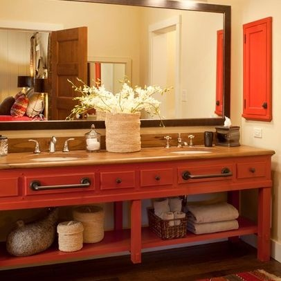Love the red vanity