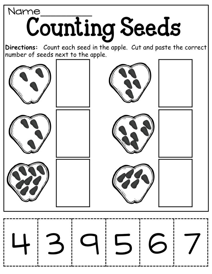 Counting apple seeds (cut and paste) | Math ideas | Pinterest