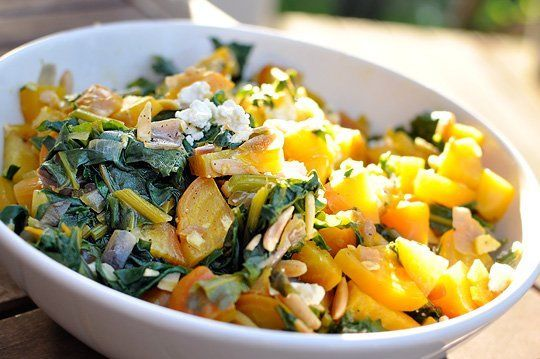 Warm Golden Beet Salad with Greens and Almonds | Recipe