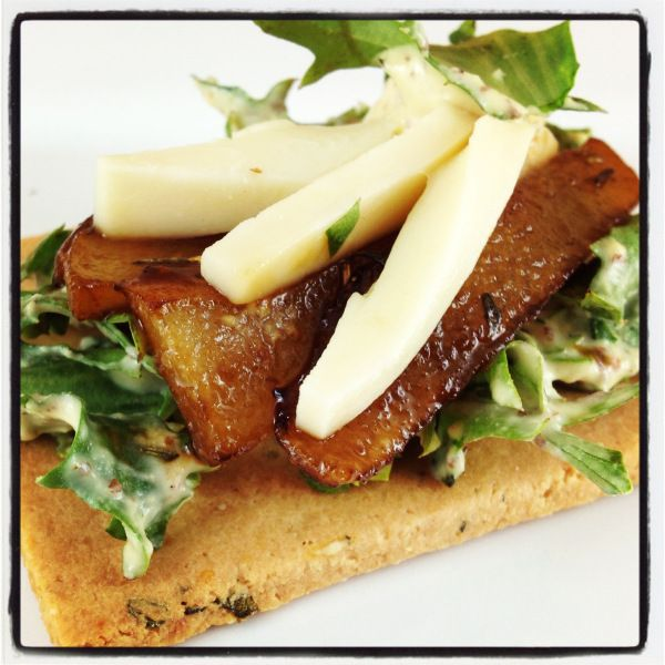 Grain Free Rosemary Almond Crackers topped with Balsamic glazed Pears ...