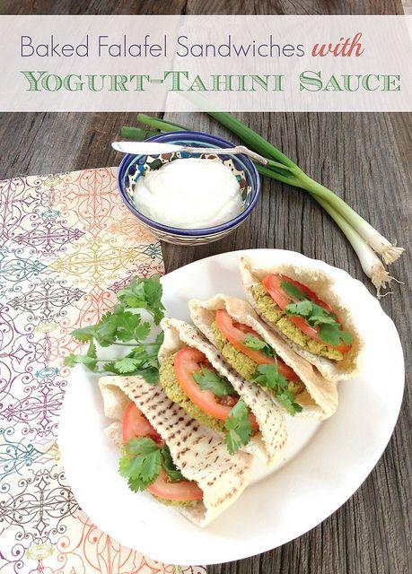 Baked Falafel Sandwiches with Yogurt-Tahini Sauce via MealMakeoverMoms ...