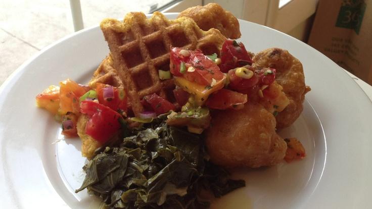 in chicken, waffles and greens. Corn waffles chicken fried cauliflower ...
