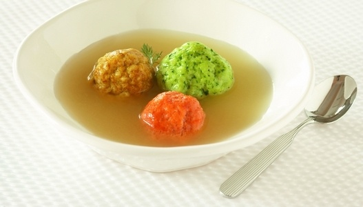 Tri-color matzah ball soup - not sure this would be good!