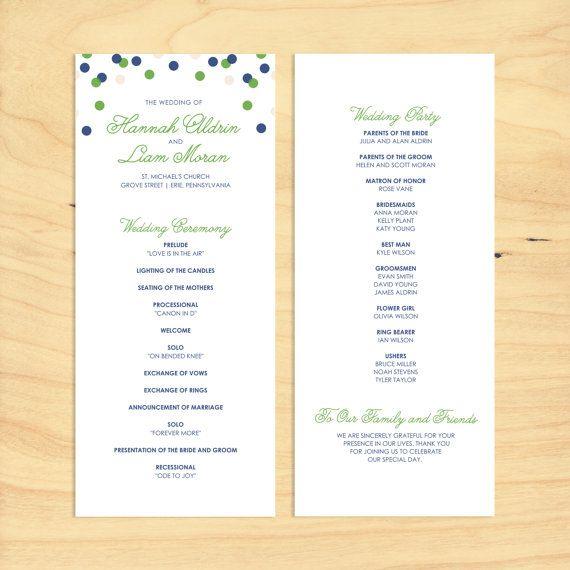 Printable Wedding Program Confetti