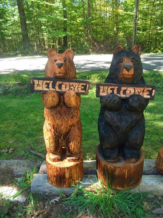 Quot chainsaw carved welcome bear