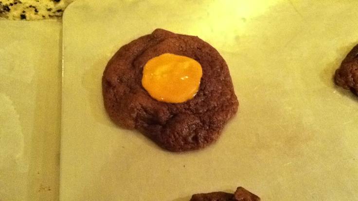 Double chocolate chunk cookies with pumpkin spice center