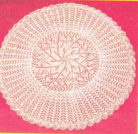 Knitting Patterns For Lace Baby Shawls : Baby lace circular shawl vintage knitting pattern