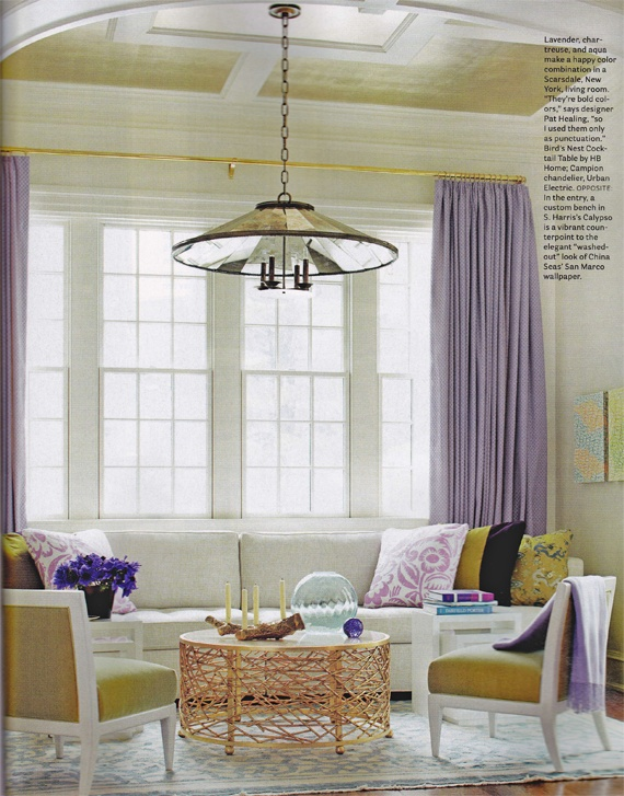 lavender and yellow. opposites on the color wheel