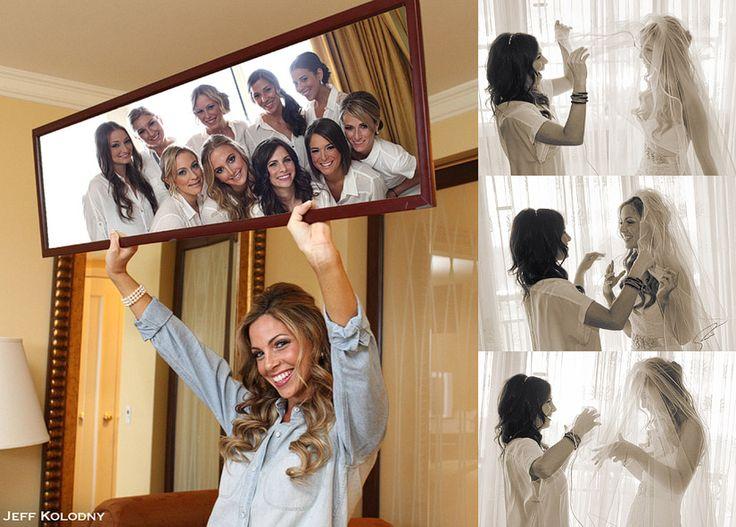 Bridesmaids in the mirror. Adorbs!