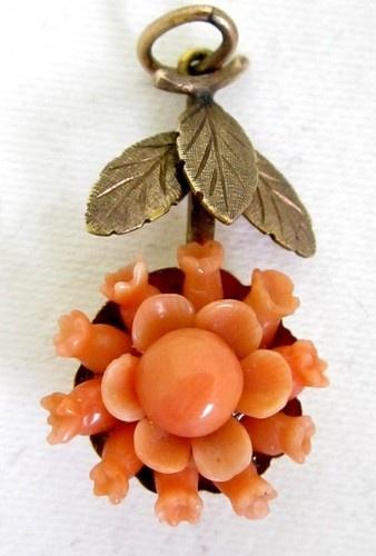 Vintage античный 10K Золото викторианской Резные Лосось Коралловый цветок ожерелье подвеска | eBay