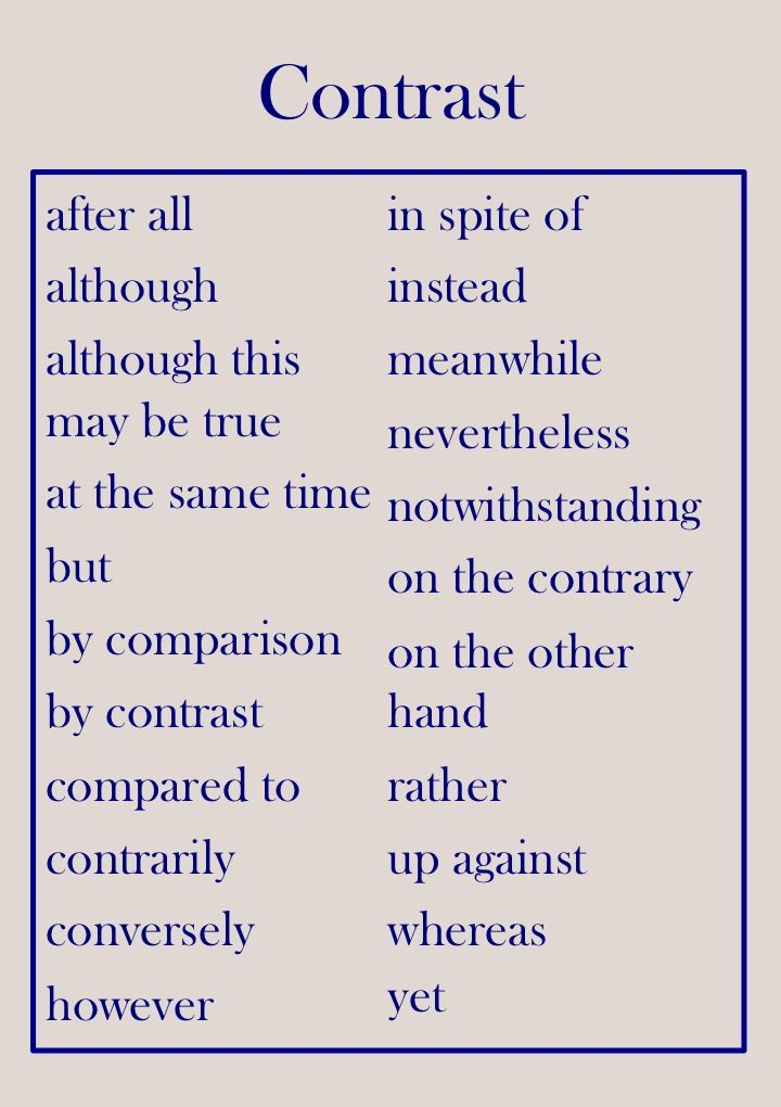 compare and contrast transition phrases for essays