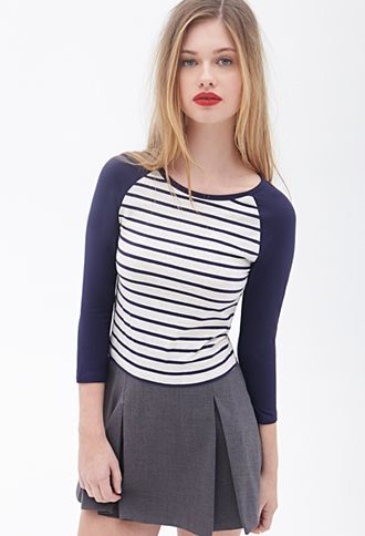 Striped Knit Baseball Tee