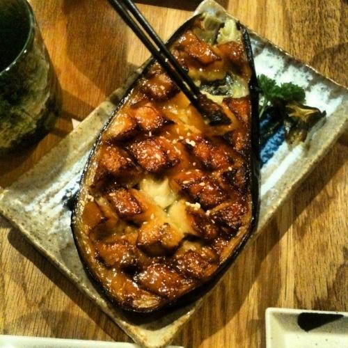 Nasu Dengaku' Grilled miso glazed aubergine (eggplant)