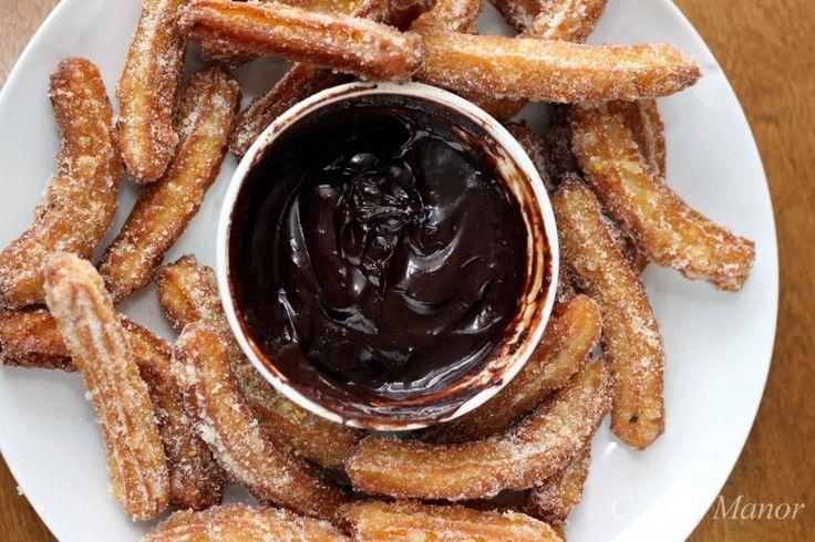 Churros with Spiced Chocolate Sauce | Citrus Blog Hop | Pinterest