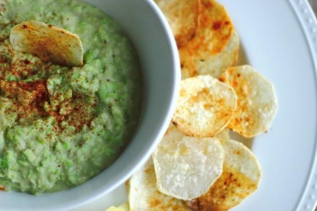 White bean and Edamame Hummus w/ Taro Chips