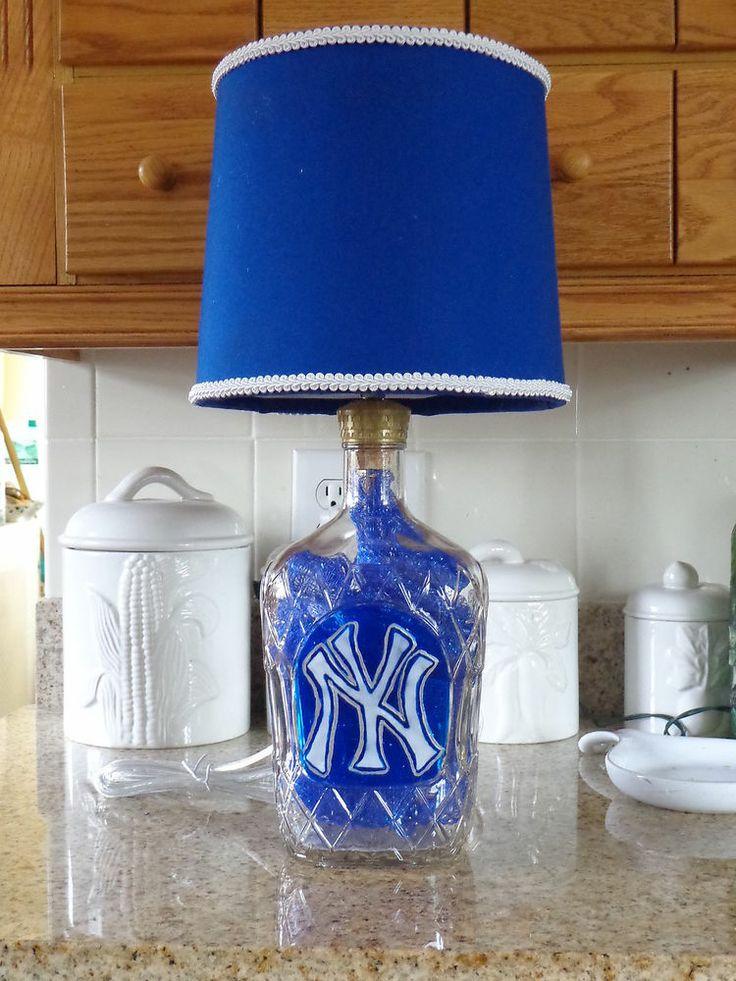 Lt crown royal liquor bottle lamp ny yankee logo for Things to make out of liquor bottles