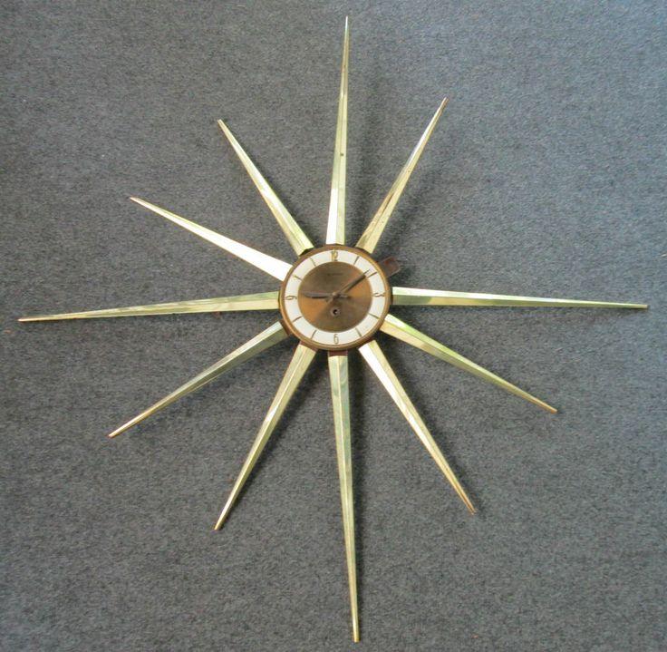 Vintage Supreme Mid-Century Modern Starburst Wall Clock ...