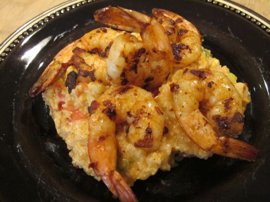 Grilled Chipotle Shrimp and Cheddar Grits with Corn and Tomatoes ...