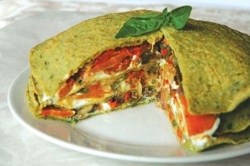 Organic Vegetable & Pesto Pancake Stack | Noms | Pinterest