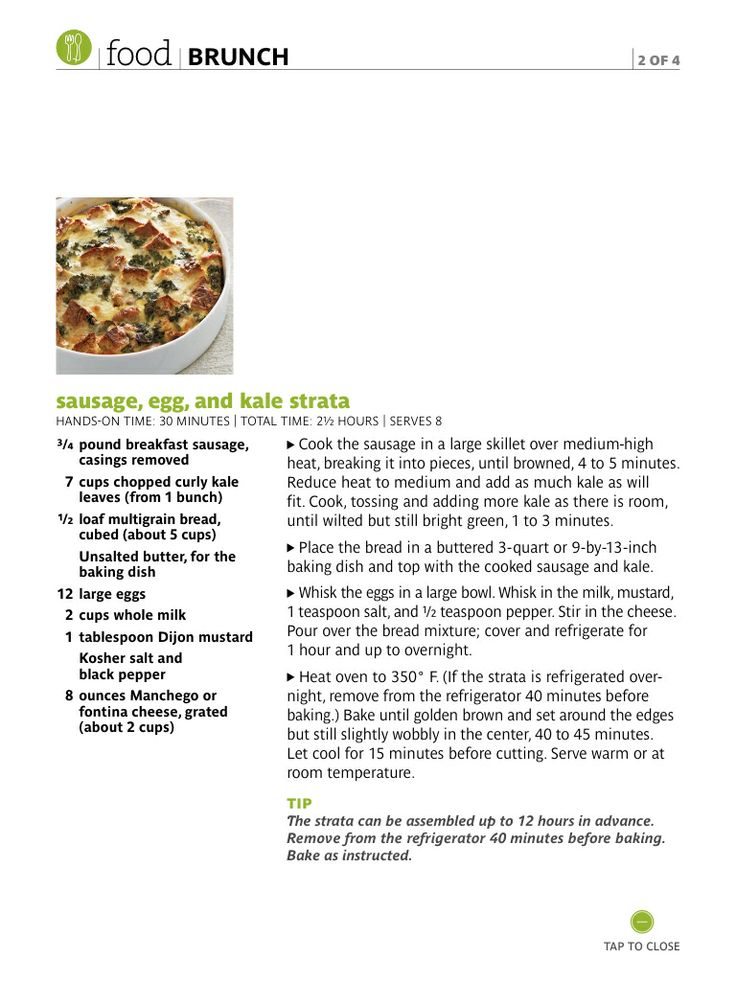Sausage, egg + kale strata | Via Real Simple | Pinned by kelly fischer ...