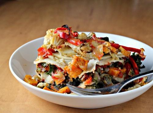stacked roasted vegetable enchiladas. | Deliciosity | Pinterest