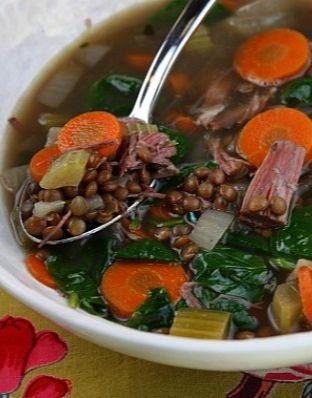 Slow Cooker Ham and Lentil Soup #recipe | RecipeGirl.com