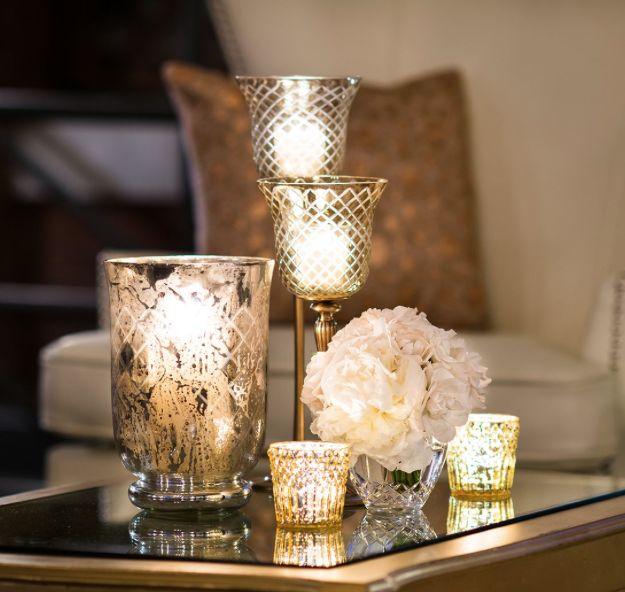 Mercury glass wedding decorations and table settings