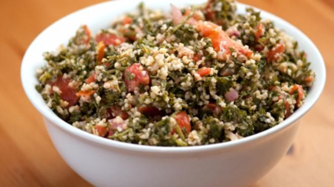 Bulgur Salad with Roasted Peppers, Capers, Raisins, Celery & Onion