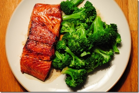 Asian Salmon with steamed or roasted broccoli ♥