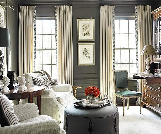 Light gray upholstery and dark gray walls