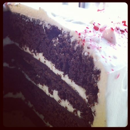 Devil's food Cake with Peppermint Fristing http://www.kludgymom.com ...