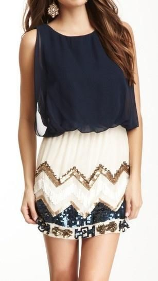 Navy blue chiffon top, white skirt with gold and blue beading